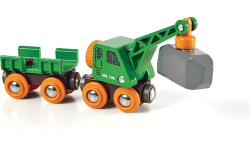 Brio 33698 BRIO Grüner Kranwagen mit Anhänger