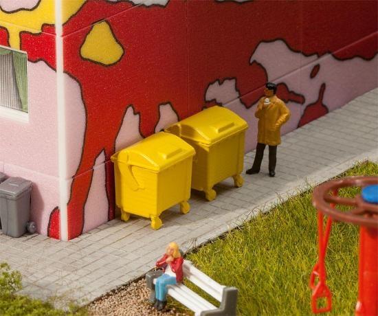 Faller 180913 2 gelbe Mülltonnen