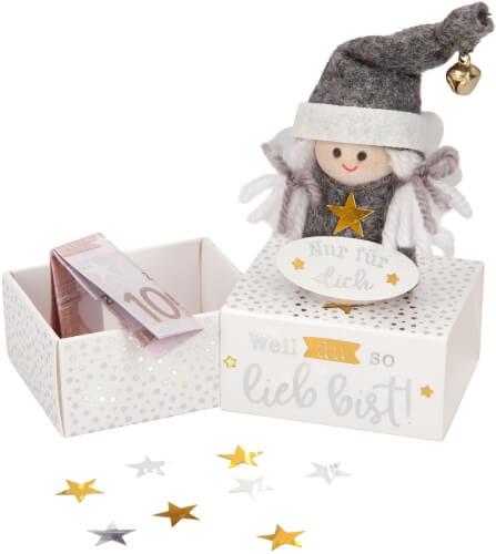 Weihnachtlicher Engel auf Minibox für Geldgeschenk