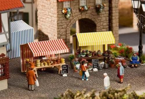 Faller 180614 Wochenmarkt II Blumen- und Kä