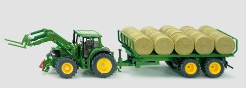 Siku 3862 Traktor mit Rundballenanhänger