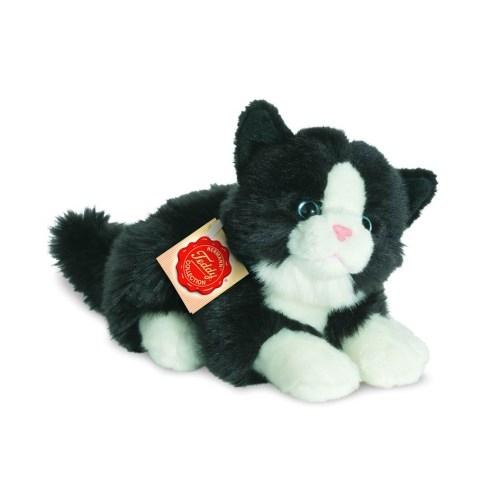 Hermann Teddy 90689 Katze liegend schwarz/weiss 2