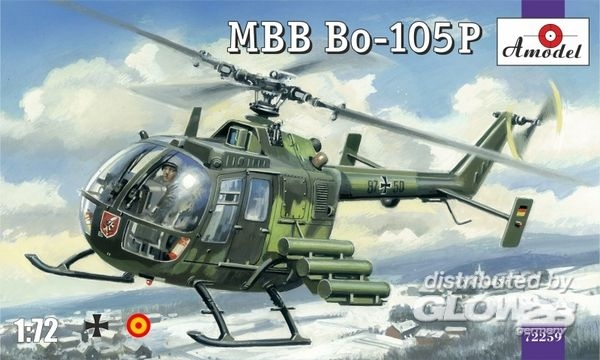 Amodel AMO72259 MBB Bo-105P helicopter, military version in 1:72