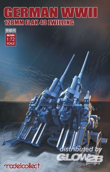 Modelcollect UA72098 German WWII 128mm FLAK 40 ZWILLING 1:72