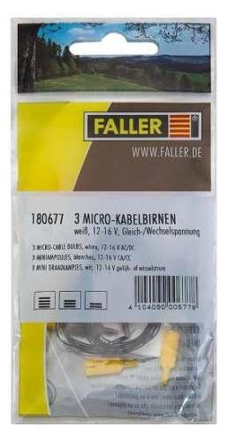 Faller 180677 3 Mikrokabelbirnen, weiß