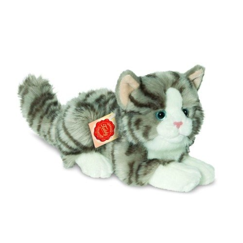Hermann Teddy 90691 Katze liegend grau 20 cm