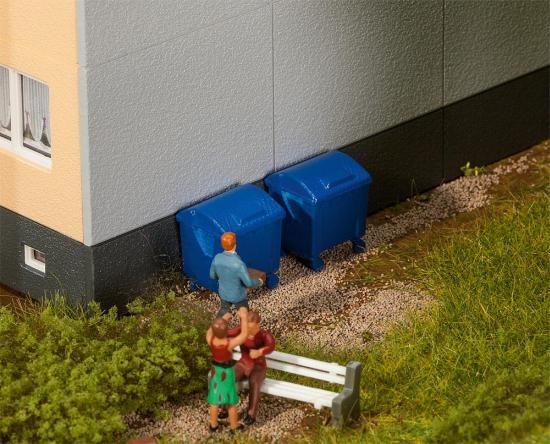 Faller 180914 2 blaue Mülltonnen